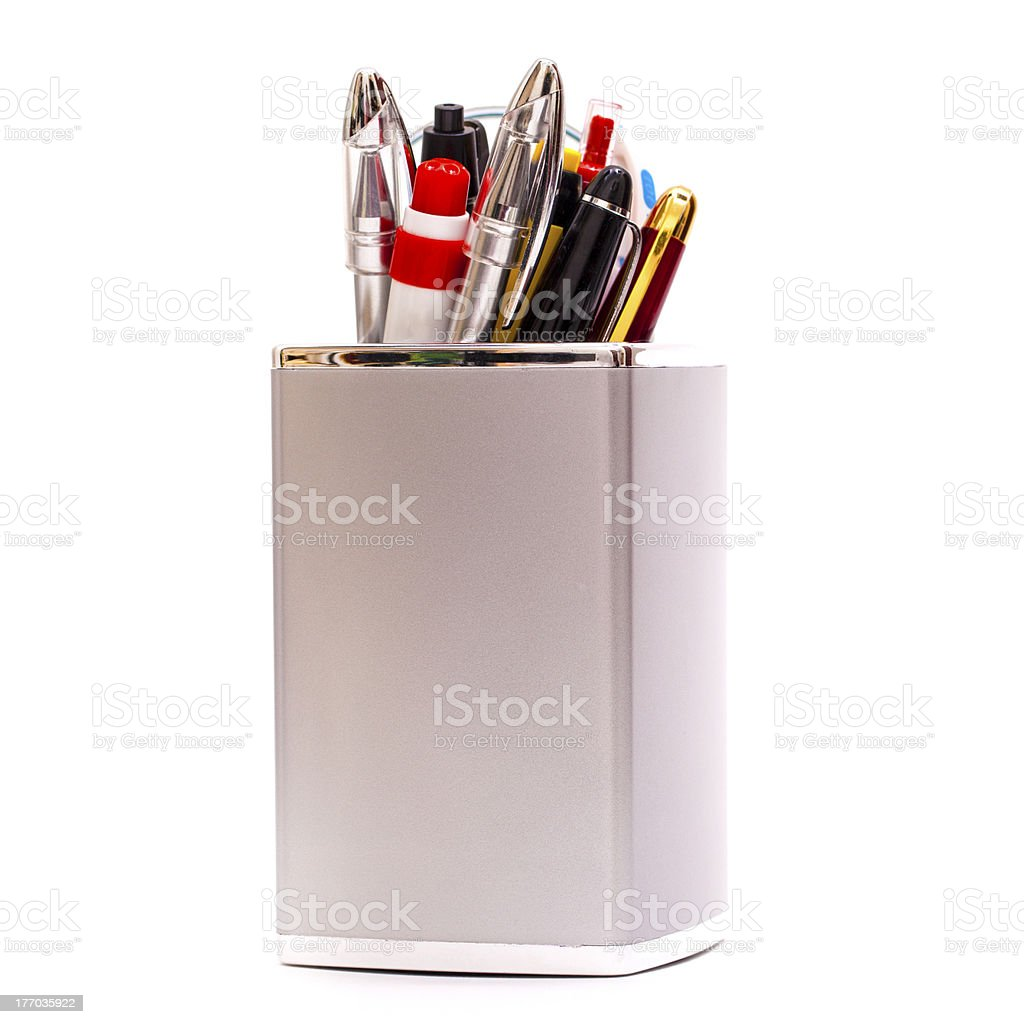 Pencil Holder with Contents royalty-free stock photo