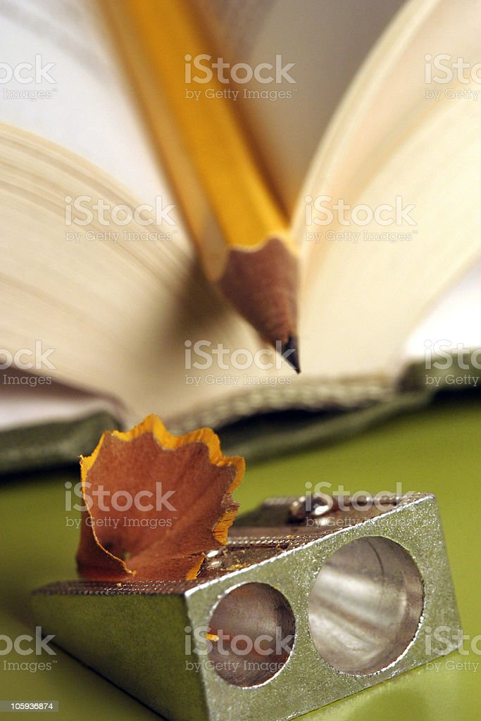pencil in a book 01 royalty-free stock photo