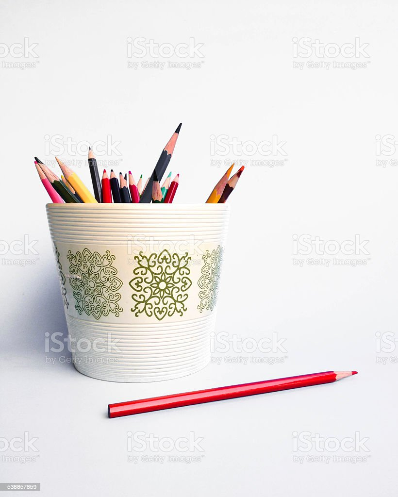pencil in a pot stock photo