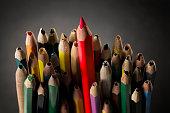 Pencil Inspire Concept, Sharp Creative Idea, Crowd Used Broken Pencils
