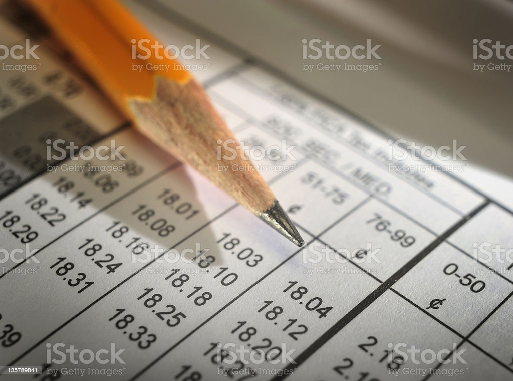 Pencil laying on a payroll deductions sheet stock photo