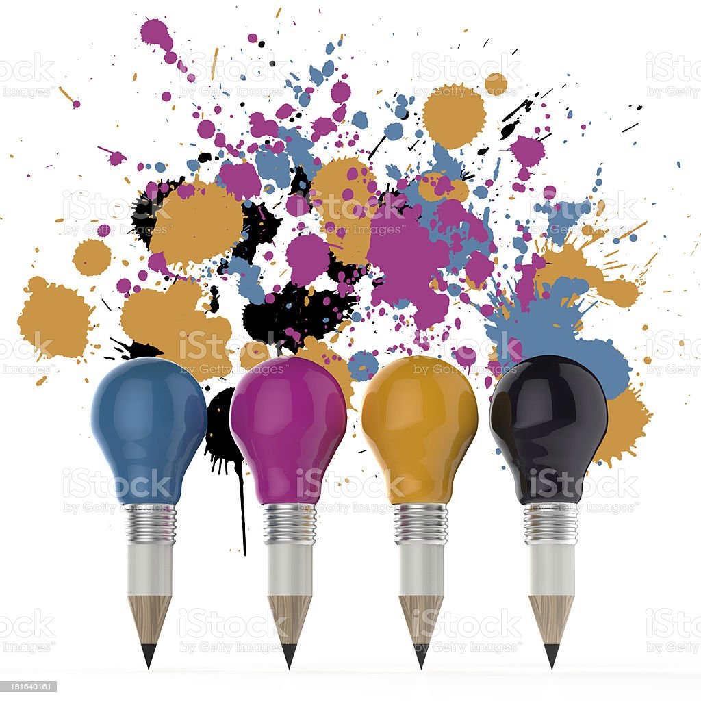 pencil lightbulb head in cmyk color royalty-free stock photo