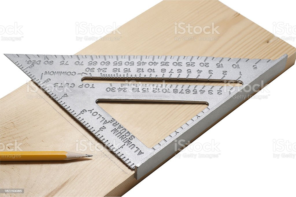 Pencil line drawn on piece of wood using pencil and ruler. stock photo