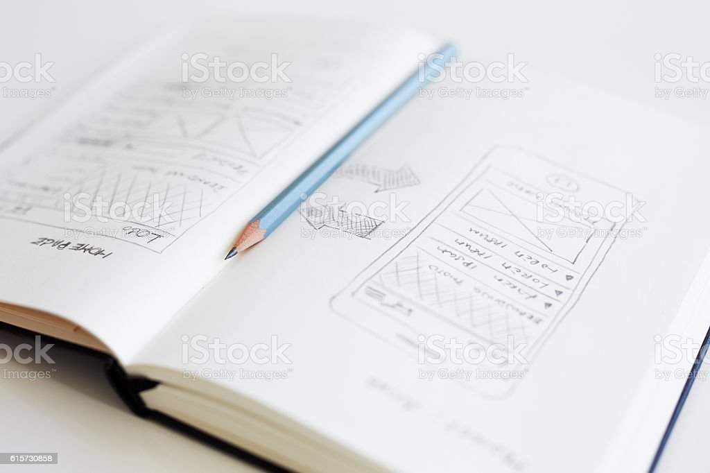 Pencil lying on an open diary stock photo