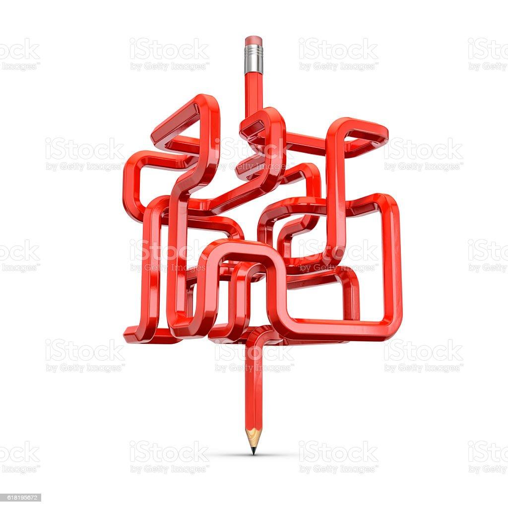 Pencil maze concept stock photo