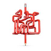 Pencil maze concept