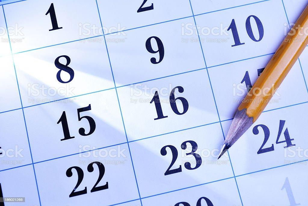 Pencil on a calendar royalty-free stock photo