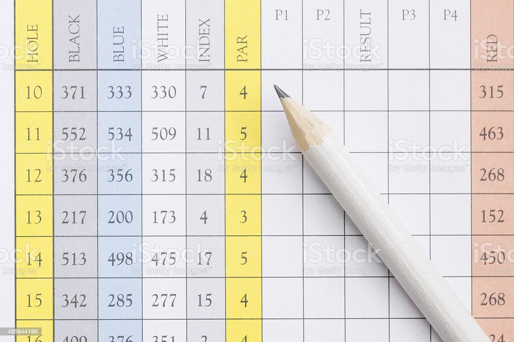 Pencil on a golf scorecard stock photo