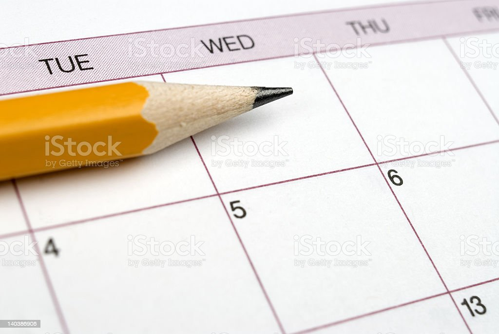 Pencil on Calendar. royalty-free stock photo
