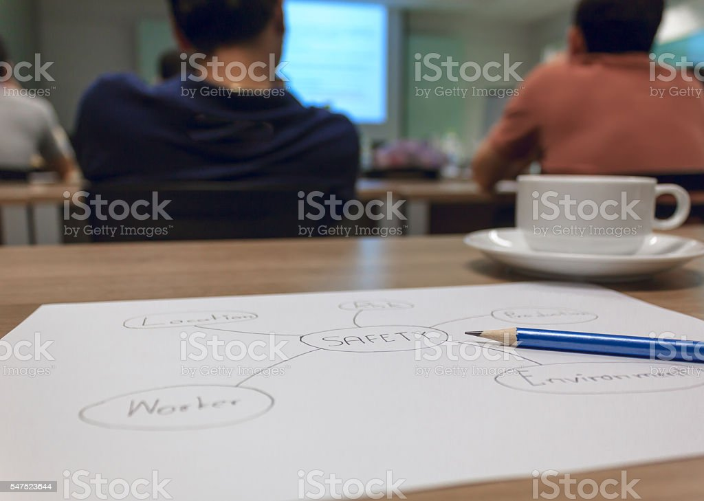 pencil on circle diagram safety concept paper sheet. stock photo