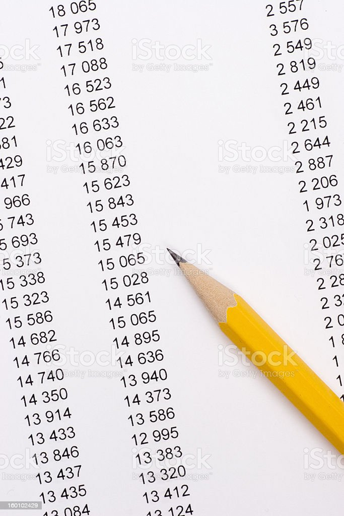 pencil on documents stock photo