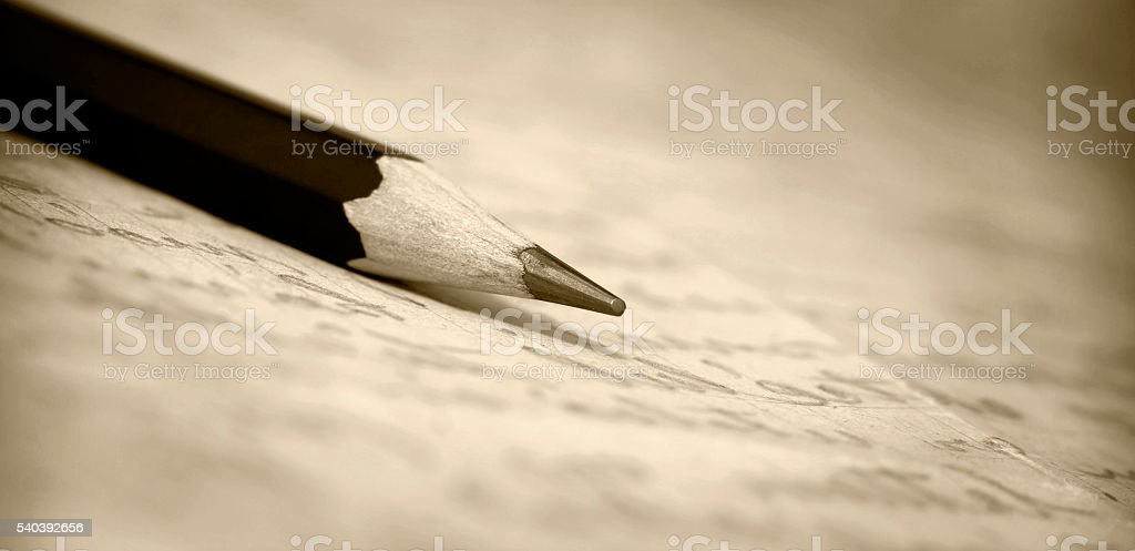 Pencil on paper banner stock photo