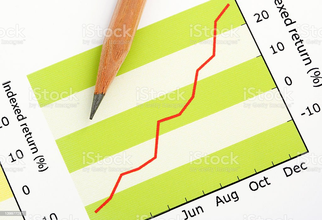 Pencil on Positive Earning Graph royalty-free stock photo