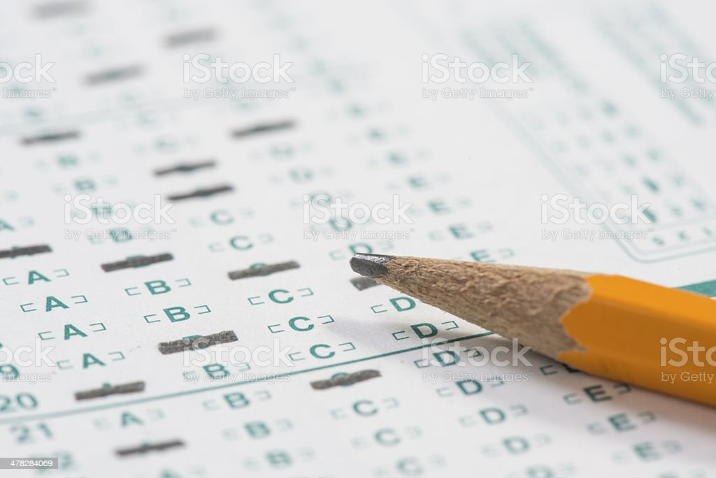 Pencil on standardized test sheet stock photo