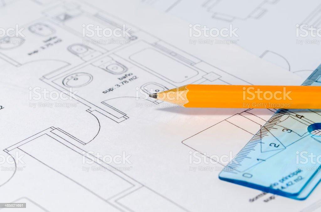 Pencil over a Blueprint stock photo
