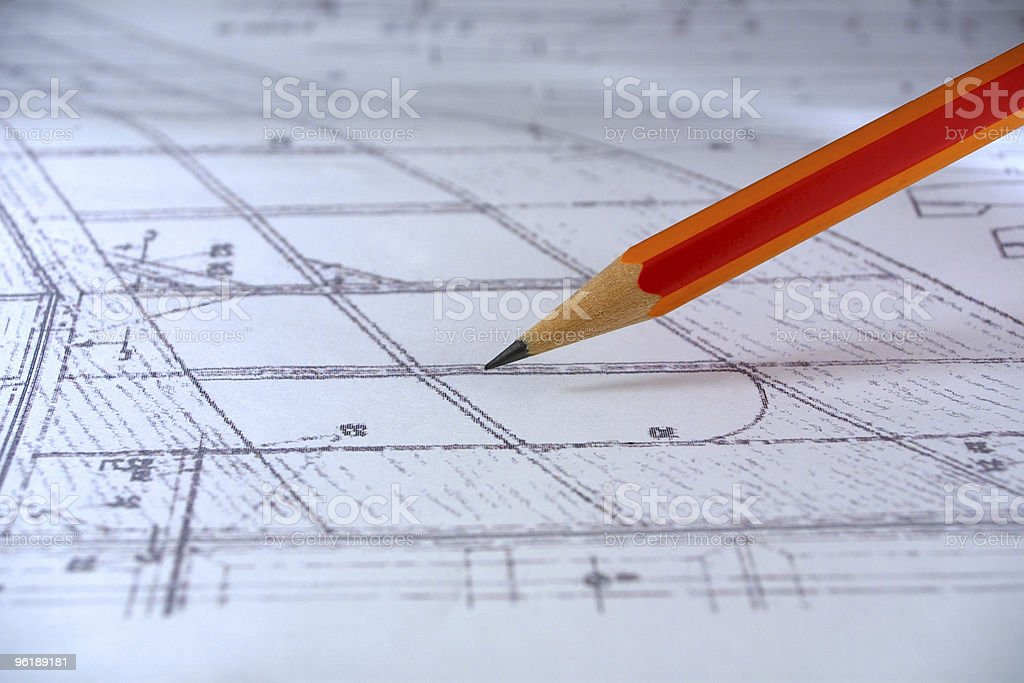 Pencil over a plan (paper sheet) royalty-free stock photo