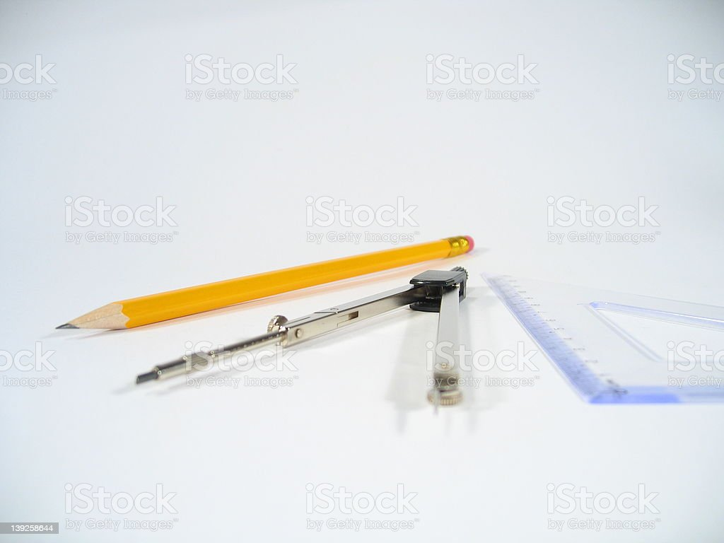 Pencil, Pair of Compasses and Set Square royalty-free stock photo