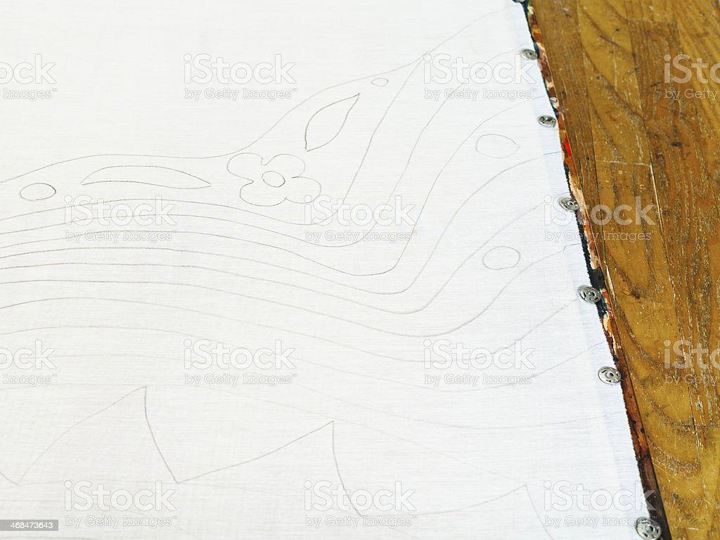 pencil pattern on white silk royalty-free stock photo