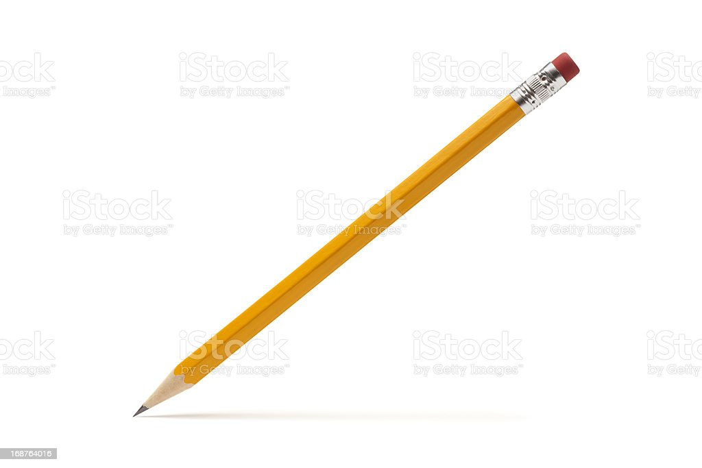 Pencil Point on White Paper in Writing Posture stock photo
