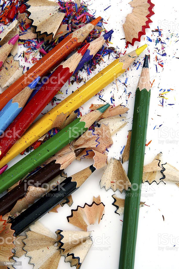 Pencil Shavings isolated in dark background stock photo