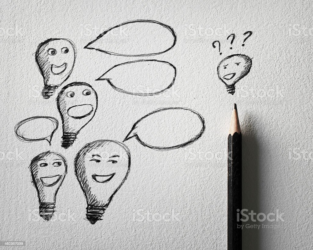 Pencil sketch of Lamp idea talking concept on white paper stock photo