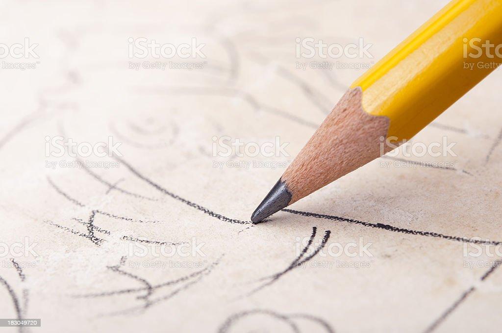 pencil sketch royalty-free stock photo