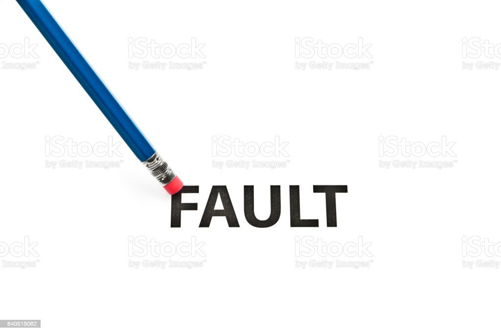 A pencil with eraser is correcting fault. Eraser and fault concept. To erase fault. stock photo