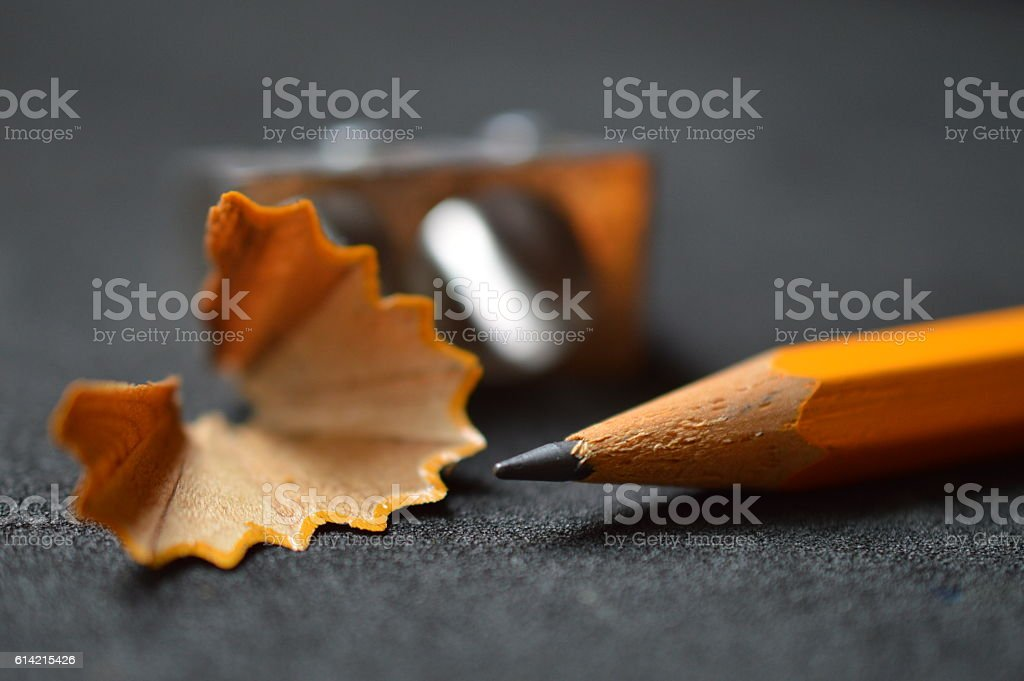 pencil with shavings and sharpener stock photo