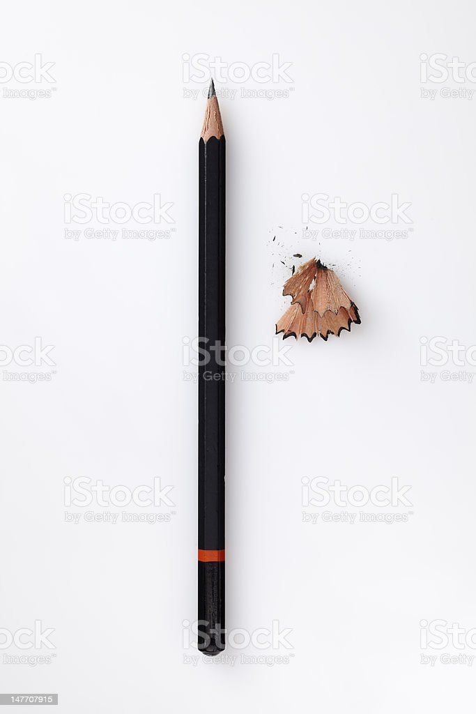 Pencil with shavings stock photo