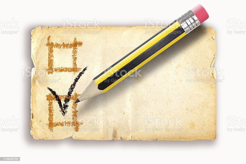 Pencil writing OK on voting ballot royalty-free stock photo