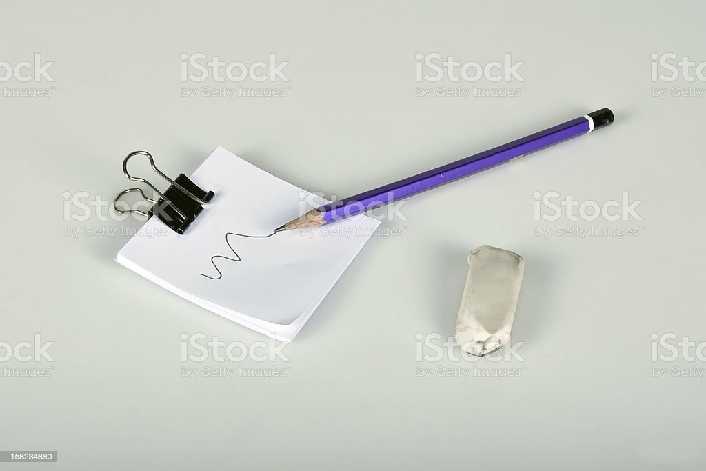 pencil,eraser and note paper stock photo