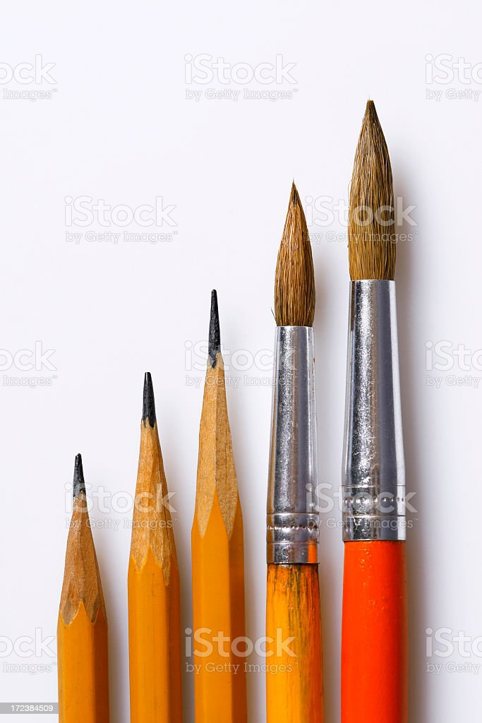 Pencils and brushes royalty-free stock photo