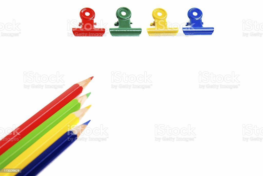Pencils and Clips royalty-free stock photo