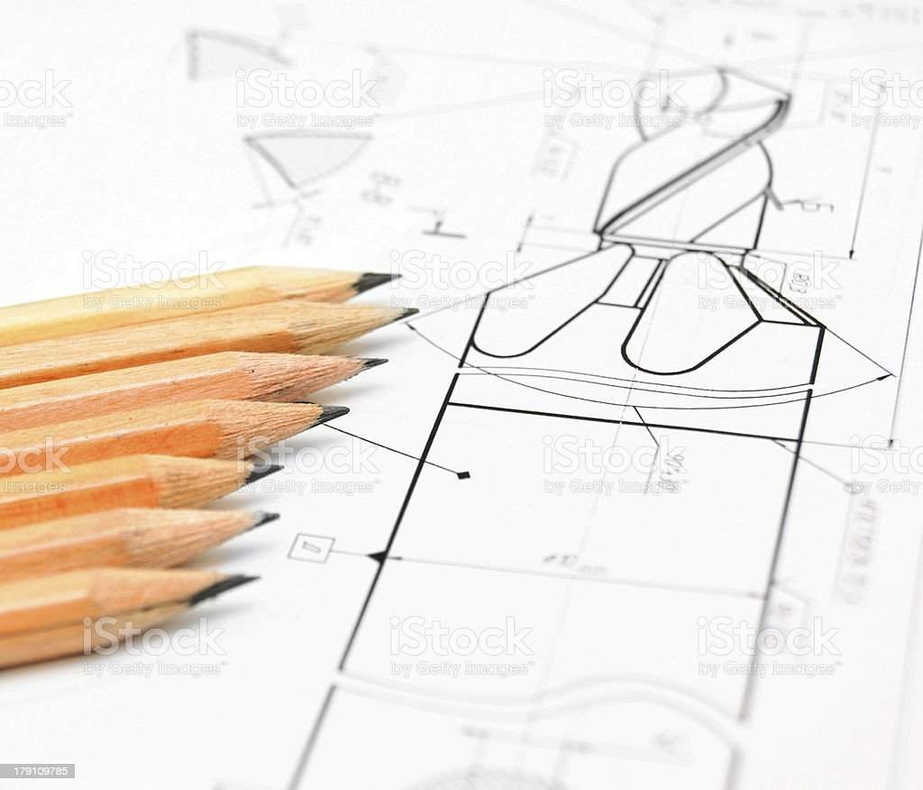 Pencils and drawing. royalty-free stock photo