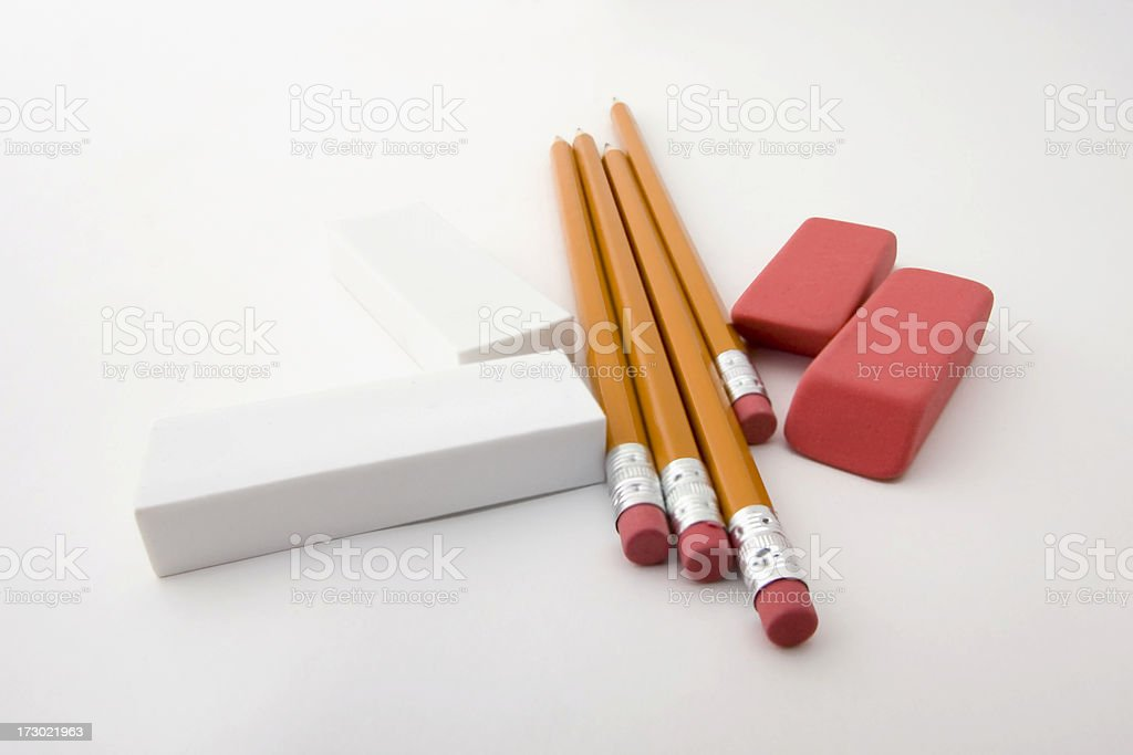 Pencils and Erasers royalty-free stock photo