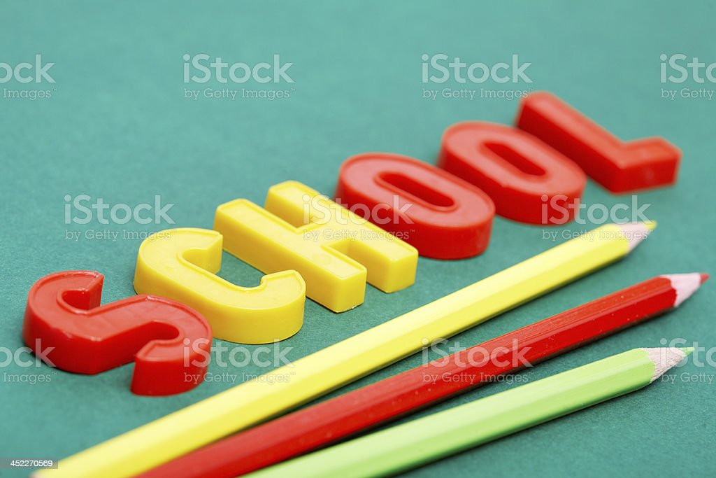Pencils and letters royalty-free stock photo