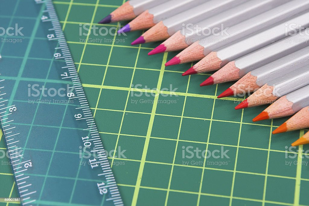 Pencils and Ruler royalty-free stock photo