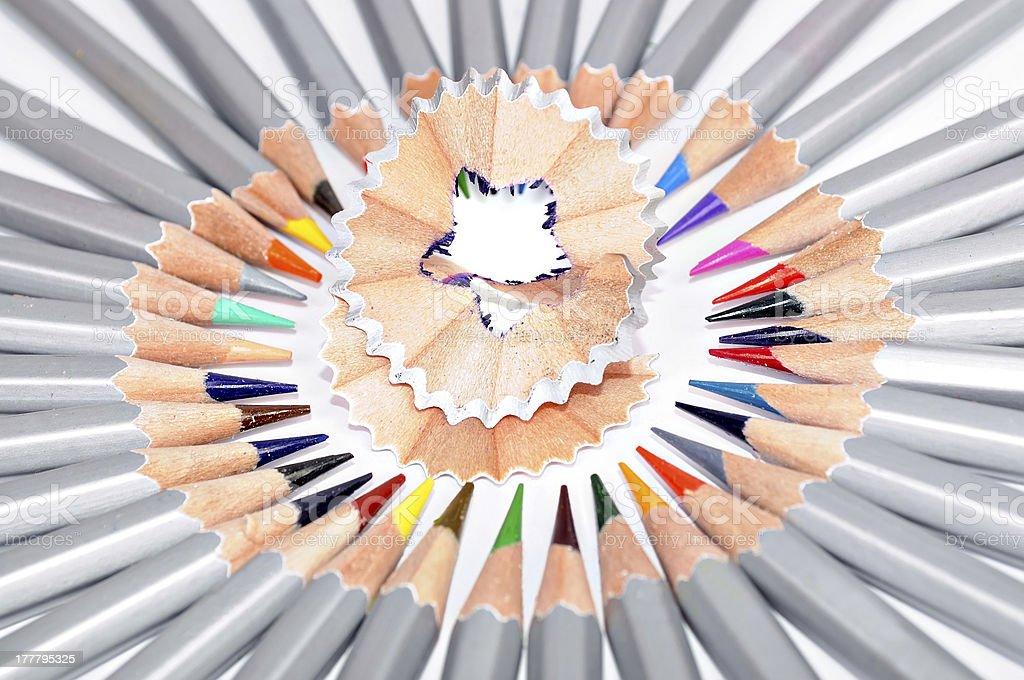 Pencils and shaving royalty-free stock photo