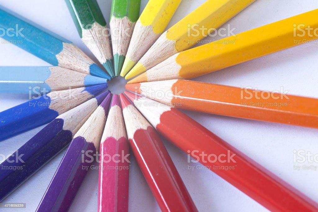 pencils as sunrays royalty-free stock photo