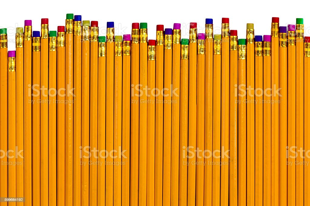 Pencils at different heights for various errors stock photo