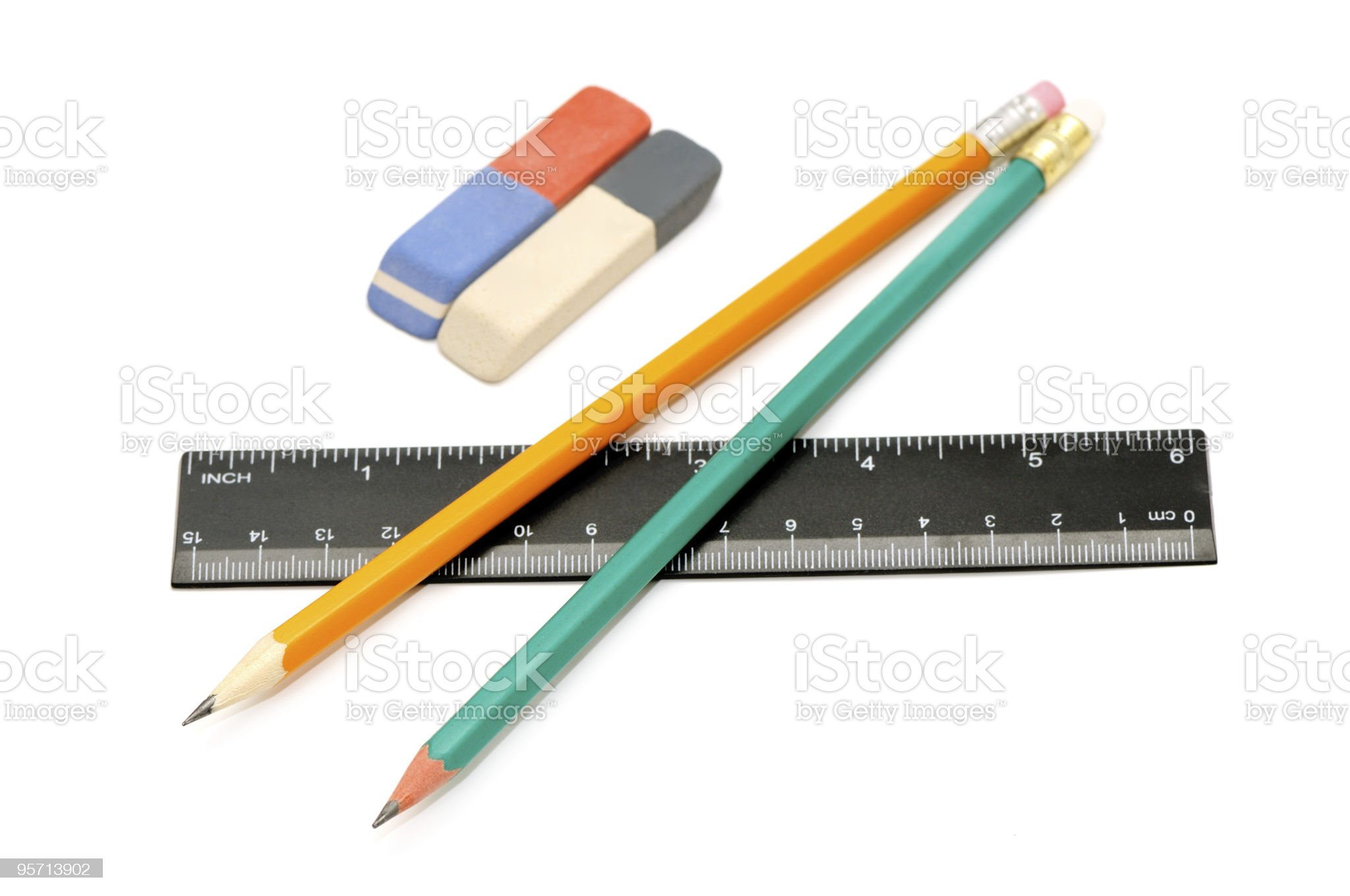 Pencils, eraser and ruler royalty-free stock photo
