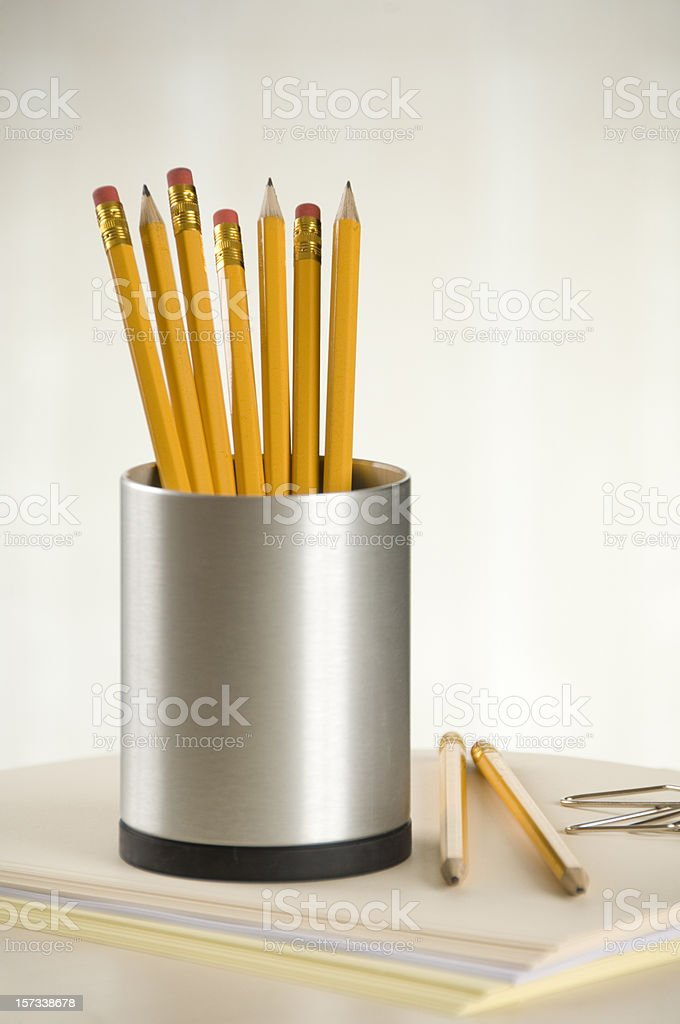 Pencils in a  pencil holder stock photo