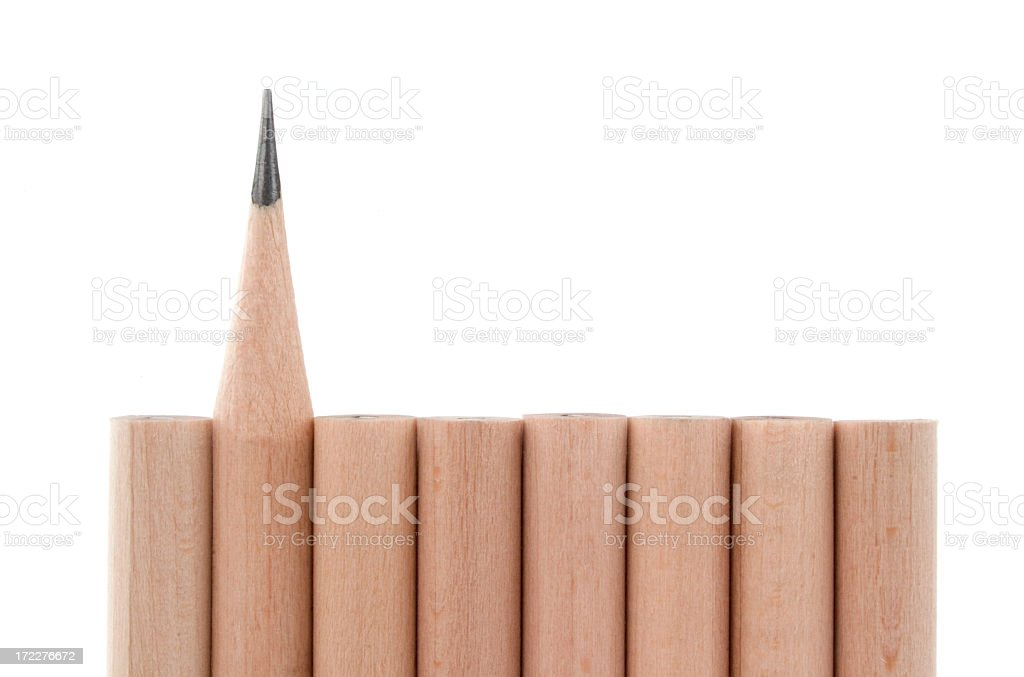 Pencils in a Row on White stock photo