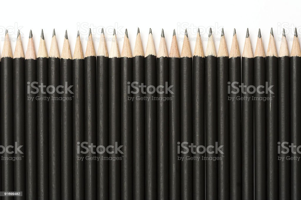 Pencils in a row royalty-free stock photo