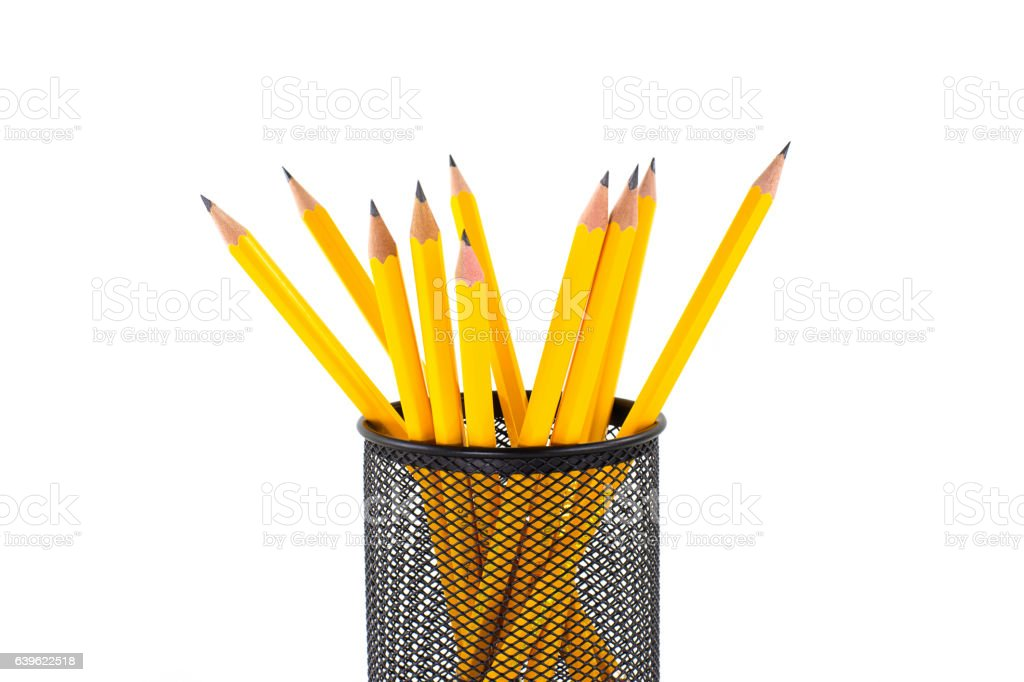 Pencils in basket isolated on white background stock photo