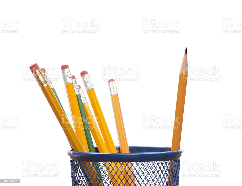 Pencils in Desk Organizer: Standing out from the Crowd royalty-free stock photo