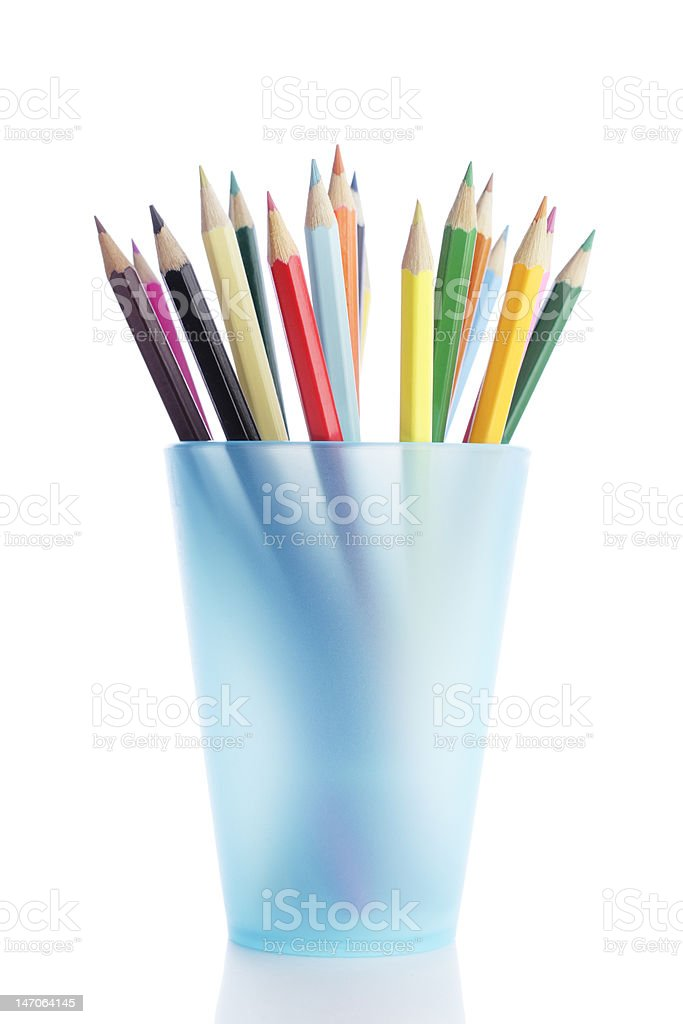 Pencils in holder royalty-free stock photo