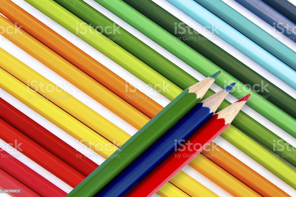 Pencils in red, green blue royalty-free stock photo