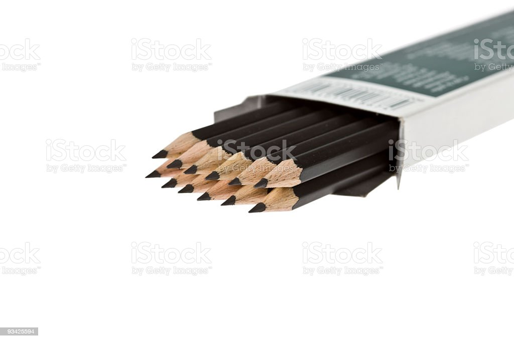 pencils in the box royalty-free stock photo