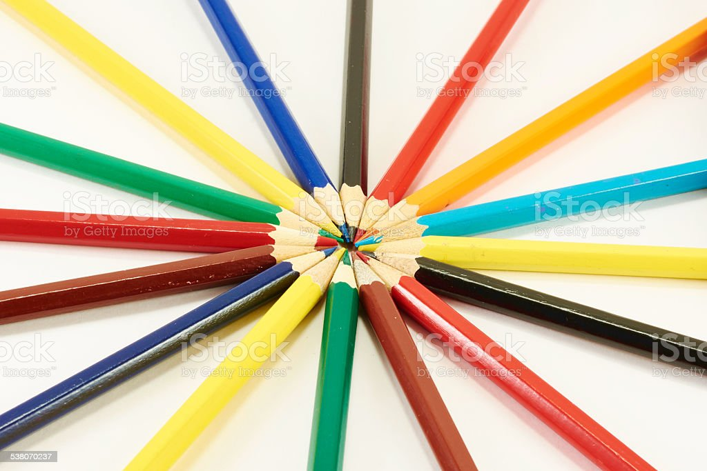 Pencils on a circle stock photo